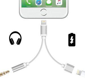 iPhone 7 / 8 | 2 i 1 Adapter - Lyssna & Ladda