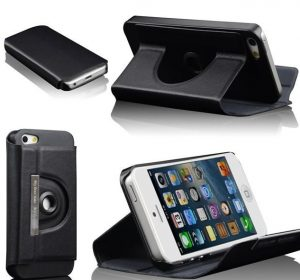 "iPhone 5 - 360"" Rotating Stand & Case - Svart"