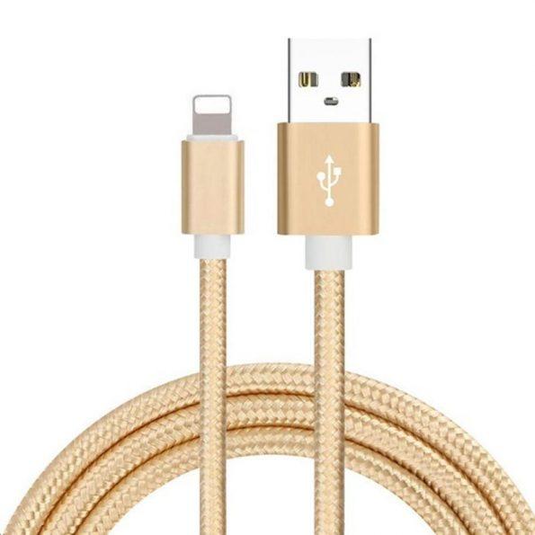 Braided Deluxe - Guld - Lightning kabel 3 meter