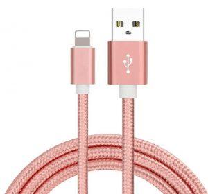 Braided Deluxe - Rosa - Lightning kabel 3 meter